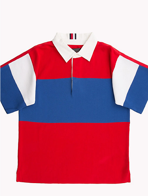HILFIGER COLLECTION Oversized rugbyshirt met korte mouwen - BARBADOS CHERRY - HILFIGER COLLECTION HILFIGER COLLECTION - main image