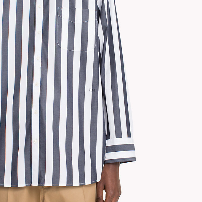 HILFIGER COLLECTION Oversized Banker Stripe Shirt - POMEGRANATE / BRIGHT WHITE - HILFIGER COLLECTION Men - detail image 3