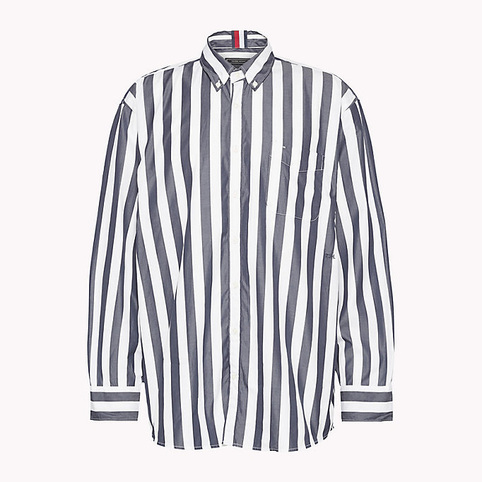 HILFIGER COLLECTION Oversized Banker Stripe Shirt - POMEGRANATE / BRIGHT WHITE - HILFIGER COLLECTION Men - main image