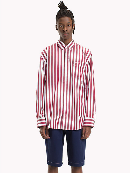 HILFIGER COLLECTION Camicia oversize a righe banker - POMEGRANATE / BRIGHT WHITE - HILFIGER COLLECTION HILFIGER COLLECTION - dettaglio immagine 1