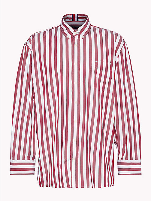 HILFIGER COLLECTION Oversized overhemd met Banker-streep - POMEGRANATE / BRIGHT WHITE - HILFIGER COLLECTION HILFIGER COLLECTION - main image