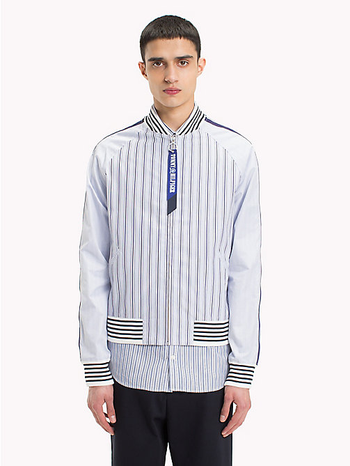 HILFIGER COLLECTION Stripe Bomber Shirt Jacket - EVENTIDE / ASTRAL AURA / BW - HILFIGER COLLECTION HILFIGER COLLECTION - detail image 1