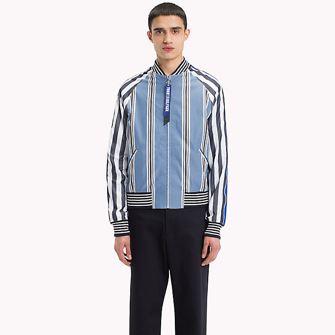 HILFIGER COLLECTION Stripe Bomber Shirt Jacket - EVENTIDE / ASTRAL AURA / BW - HILFIGER COLLECTION Men - detail image 1