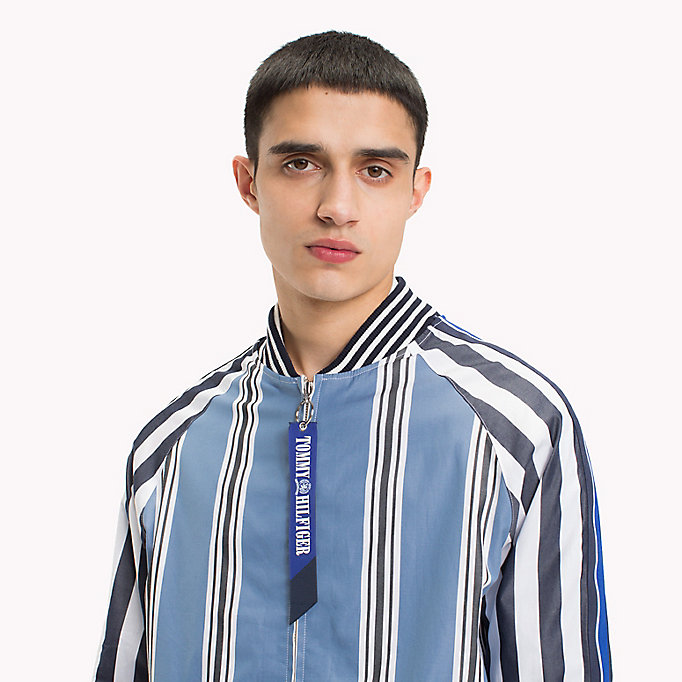 HILFIGER COLLECTION Stripe Bomber Shirt Jacket - EVENTIDE / ASTRAL AURA / BW - HILFIGER COLLECTION Men - detail image 4