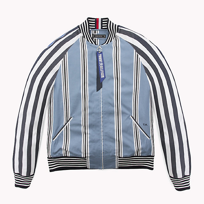 HILFIGER COLLECTION Gestreept bomber shirt-jack - EVENTIDE / ASTRAL AURA / BW - HILFIGER COLLECTION Heren - main image