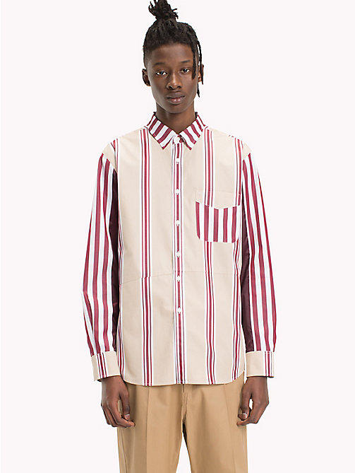 HILFIGER COLLECTION Mixed Stripe Cotton Shirt - POMEGRANATE / MULTI - HILFIGER COLLECTION HILFIGER COLLECTION - detail image 1