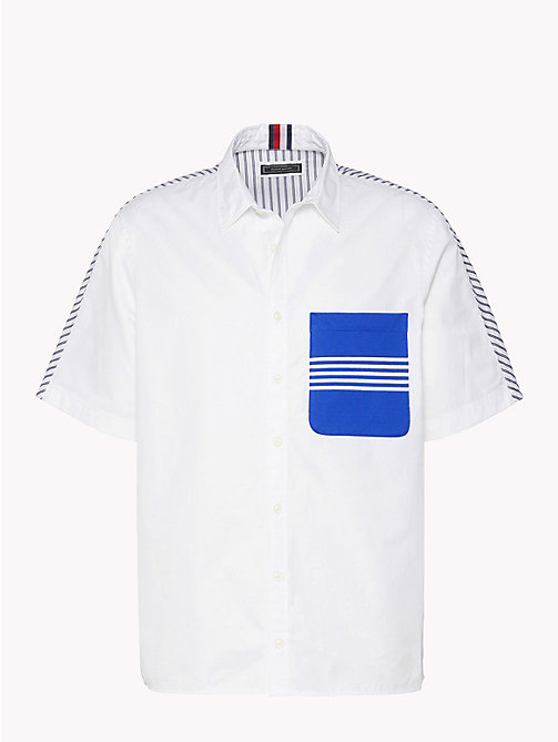 HILFIGER COLLECTION Camicia con colletto in maglia a contrasto - BRIGHT WHITE / ASTRAL AURA - HILFIGER COLLECTION HILFIGER COLLECTION - immagine principale