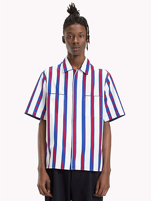 HILFIGER COLLECTION Boxy Striped Bowling Shirt - BW / SURF THE WEB / BARBADOS CHERRY - HILFIGER COLLECTION Coats & Jackets - detail image 1