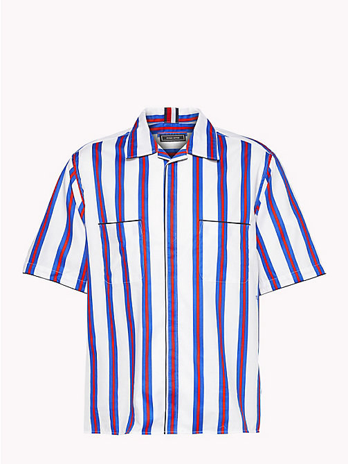 HILFIGER COLLECTION Boxy Striped Bowling Shirt - BW / SURF THE WEB / BARBADOS CHERRY - HILFIGER COLLECTION Coats & Jackets - main image