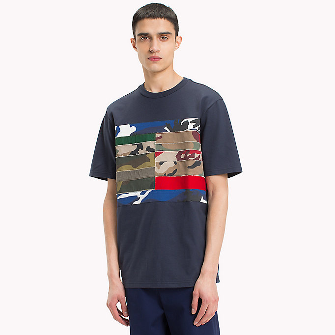 HILFIGER COLLECTION Patchwork Flag T-Shirt - BRIGHT WHITE - HILFIGER COLLECTION Clothing - main image