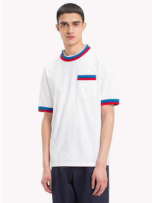HILFIGER COLLECTION T-shirt met geribbeld kleurcontrast - BRIGHT WHITE - HILFIGER COLLECTION HILFIGER COLLECTION - main image