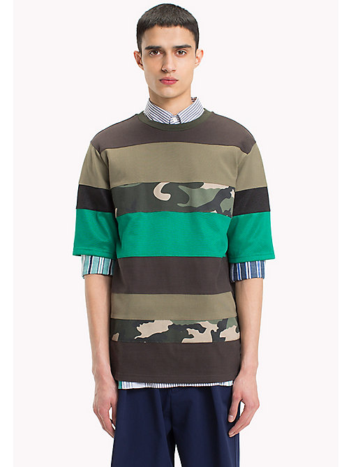 HILFIGER COLLECTION Longer Length Mix Stripe T-Shirt - BLACK OLIVE - HILFIGER COLLECTION HILFIGER COLLECTION - main image