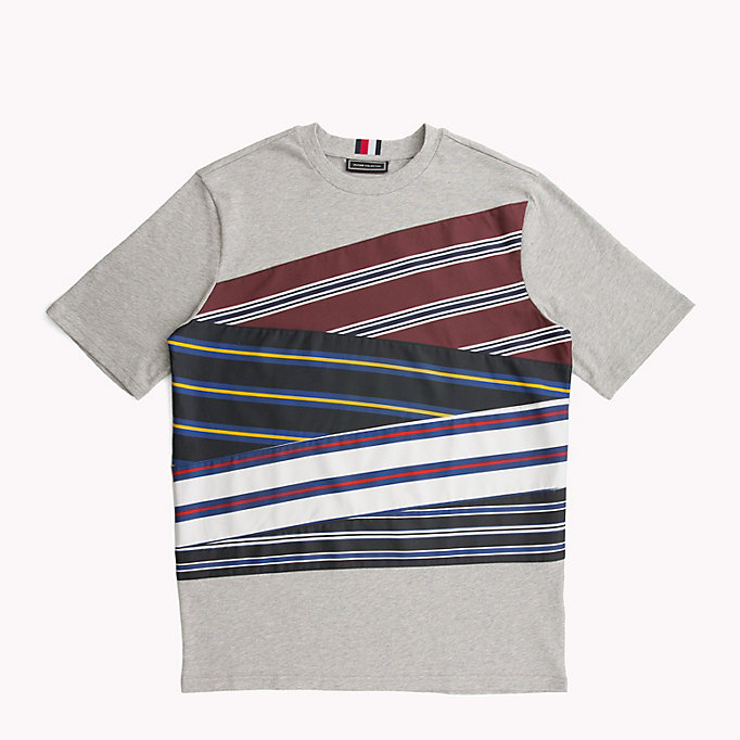 HILFIGER COLLECTION Baumwoll-T-Shirt mit gestreiften Einsätzen - BRIGHT WHITE - HILFIGER COLLECTION Herren - main image