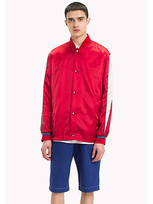 HILFIGER COLLECTION Satin Team Jacket - BARBADOS CHERRY - HILFIGER COLLECTION HILFIGER COLLECTION - main image