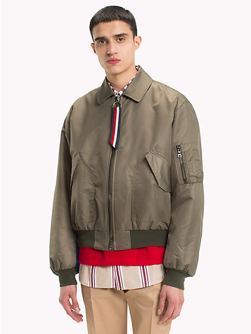 HILFIGER COLLECTION Nylon Flight Jacket - BLACK OLIVE - HILFIGER COLLECTION HILFIGER COLLECTION - main image