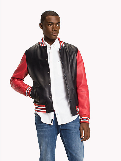 TOMMY HILFIGER Leather Bomber Jacket - NAVY BLAZER - TOMMY HILFIGER Men - main image