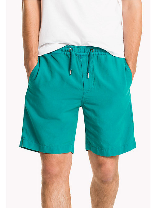 TOMMY HILFIGER Cotton Linen Drawstring Shorts - FANFARE - TOMMY HILFIGER Shorts - main image