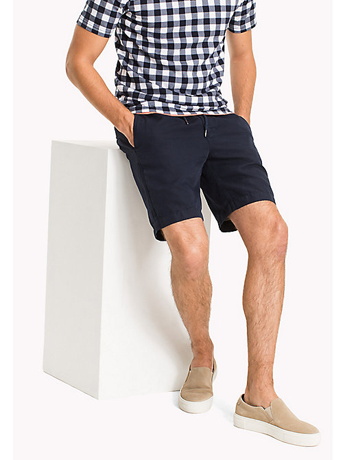 TOMMY HILFIGER Cotton Linen Drawstring Shorts - NAVY BLAZER - TOMMY HILFIGER Clothing - main image