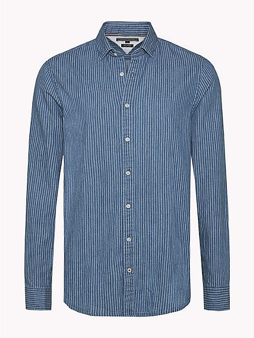 TOMMY HILFIGER Stripe Slim Fit Shirt - INDIGO / SNOW WHITE - TOMMY HILFIGER Shirts - main image