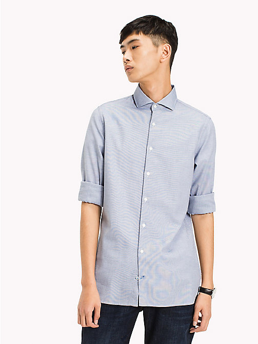 TOMMY HILFIGER Dobby Cotton Slim Fit Shirt - ESTATE BLUE - TOMMY HILFIGER Shirts - detail image 1