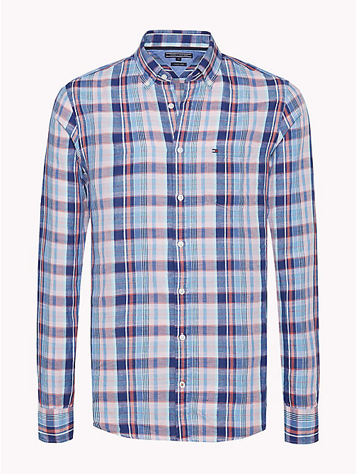 TOMMY HILFIGER Linen Blend Check Slim Fit Shirt - SODALITE BLUE / HOT CORAL - TOMMY HILFIGER Clothing - main image