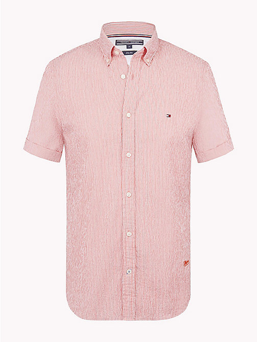 TOMMY HILFIGER Stripe Seersucker Slim Fit Shirt - ROSE OF SHARON / BRIGHT WHITE - TOMMY HILFIGER Clothing - main image