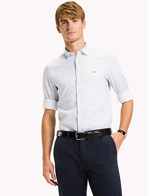 TOMMY HILFIGER Print Slim Fit Shirt - REGATTA / BRIGHT WHITE - TOMMY HILFIGER Clothing - detail image 1