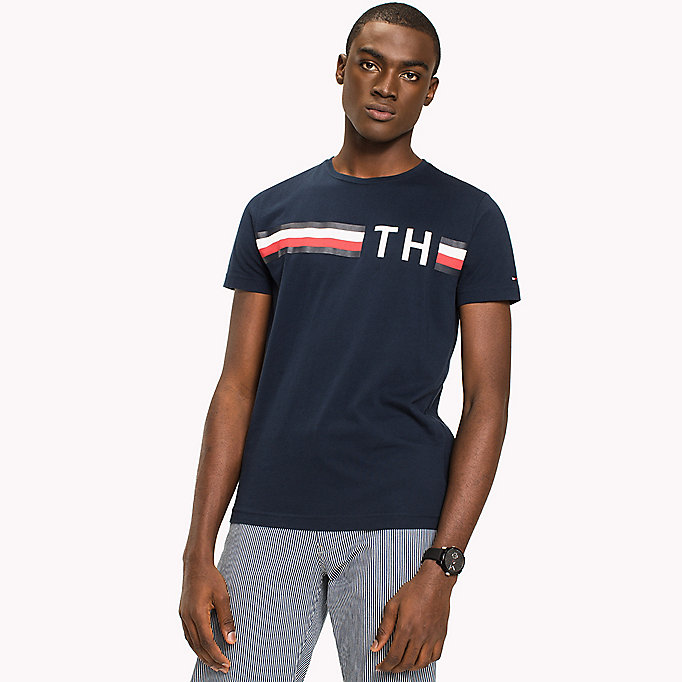 TOMMY HILFIGER Stripe Logo T-Shirt - CLOUD HTR - TOMMY HILFIGER Men - detail image 2