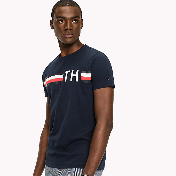 TOMMY HILFIGER Stripe Logo T-Shirt - CLOUD HTR - TOMMY HILFIGER Men - detail image 3