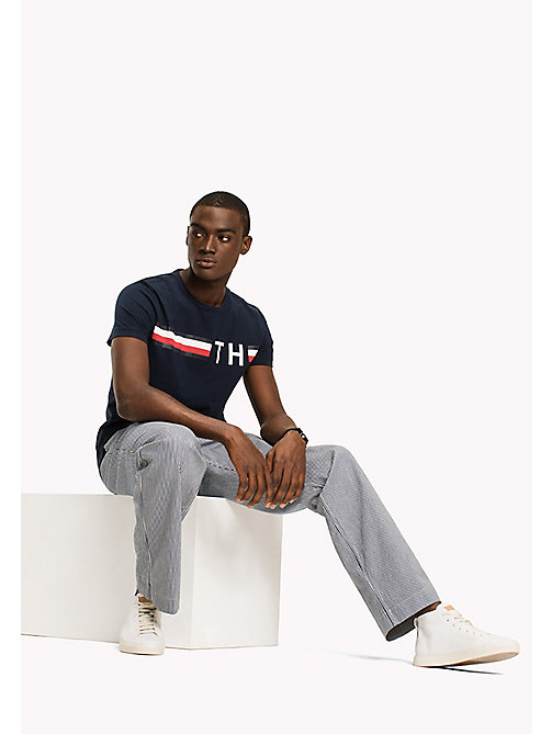 TOMMY HILFIGER Stripe Logo T-Shirt - NAVY BLAZER - TOMMY HILFIGER Sustainable Evolution - main image