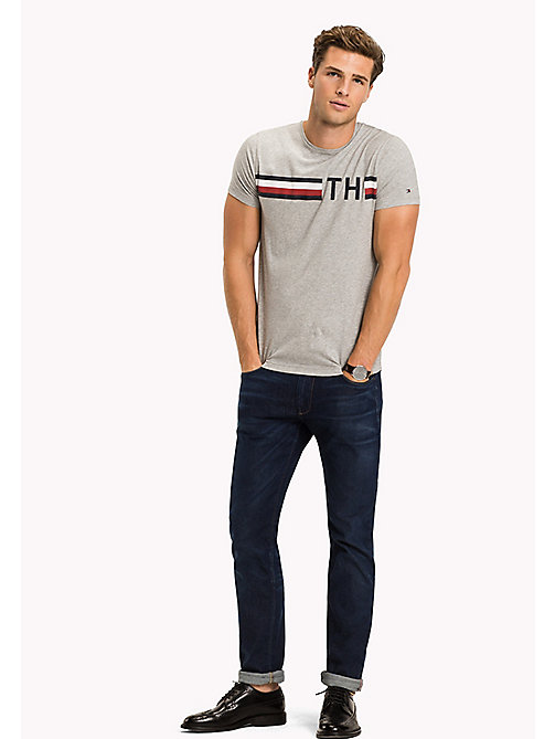 TOMMY HILFIGER Stripe Logo T-Shirt - CLOUD HTR - TOMMY HILFIGER VACATION FOR HIM - main image