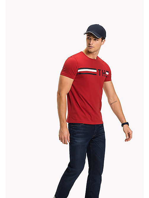 TOMMY HILFIGER Stripe Logo T-Shirt - HAUTE RED - TOMMY HILFIGER Vacation Style - main image