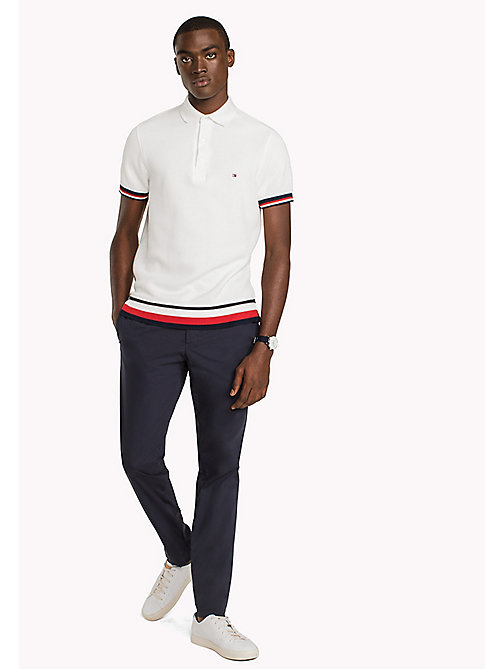 TOMMY HILFIGER Chunky Knit Slim Fit Polo Shirt - SNOW WHITE - TOMMY HILFIGER Hoodies & Sweatshirts - main image