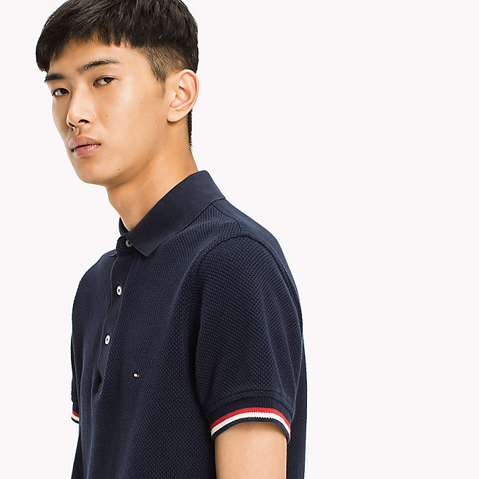TOMMY HILFIGER Chunky Knit Slim Fit Polo Shirt - SNOW WHITE - TOMMY HILFIGER Men - detail image 2