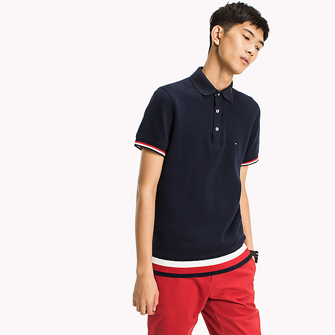 TOMMY HILFIGER Chunky Knit Slim Fit Polo Shirt - SNOW WHITE - TOMMY HILFIGER Men - detail image 3