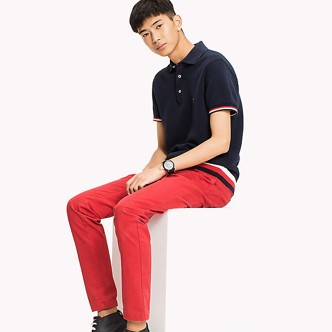 TOMMY HILFIGER Chunky Knit Slim Fit Polo Shirt - SNOW WHITE - TOMMY HILFIGER Men - main image