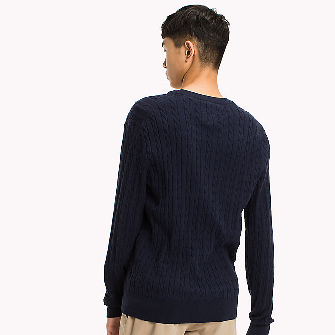 TOMMY HILFIGER Crew Neck Cable Jumper - OYSTER GRAY HTR - TOMMY HILFIGER Men - detail image 1