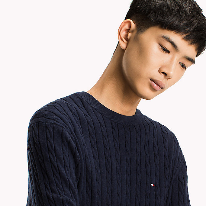 TOMMY HILFIGER Crew Neck Cable Jumper - OYSTER GRAY HTR - TOMMY HILFIGER Men - detail image 2