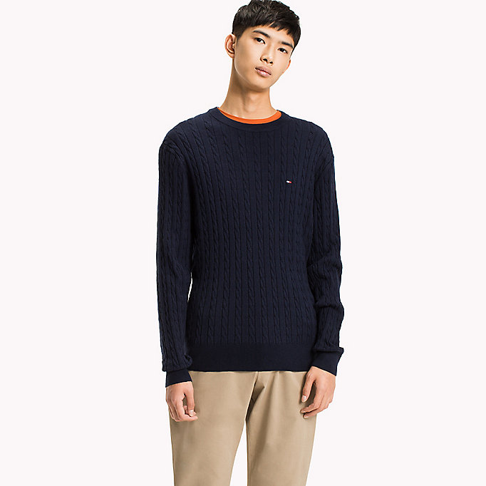 TOMMY HILFIGER Crew Neck Cable Jumper - OYSTER GRAY HTR - TOMMY HILFIGER Clothing - main image