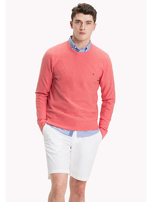 TOMMY HILFIGER Ricecorn Crew Neck Jumper - MORNING GLORY HEATHER - TOMMY HILFIGER Shorts - main image