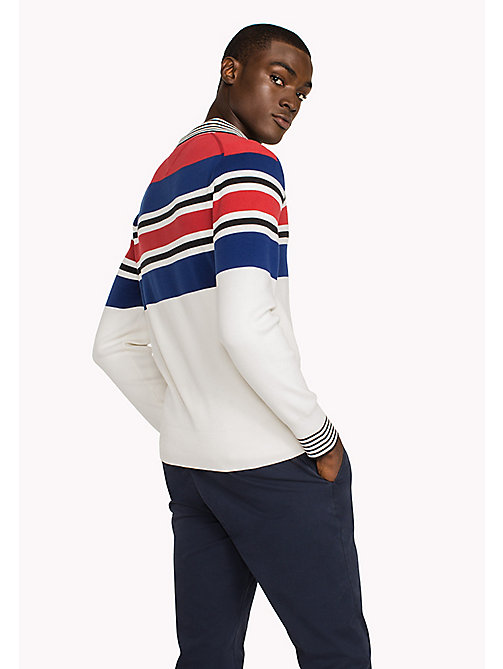 TOMMY HILFIGER Knitted Stripe Polo - SNOW WHITE - TOMMY HILFIGER Clothing - detail image 1