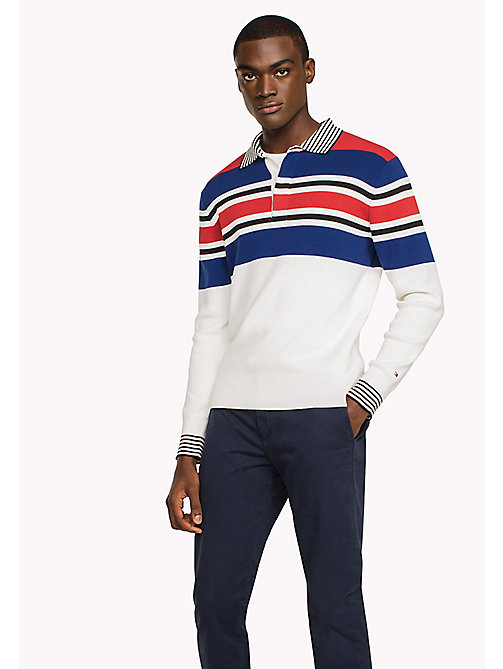 TOMMY HILFIGER Knitted Stripe Polo - SNOW WHITE - TOMMY HILFIGER TOMMY'S PADDOCK - main image