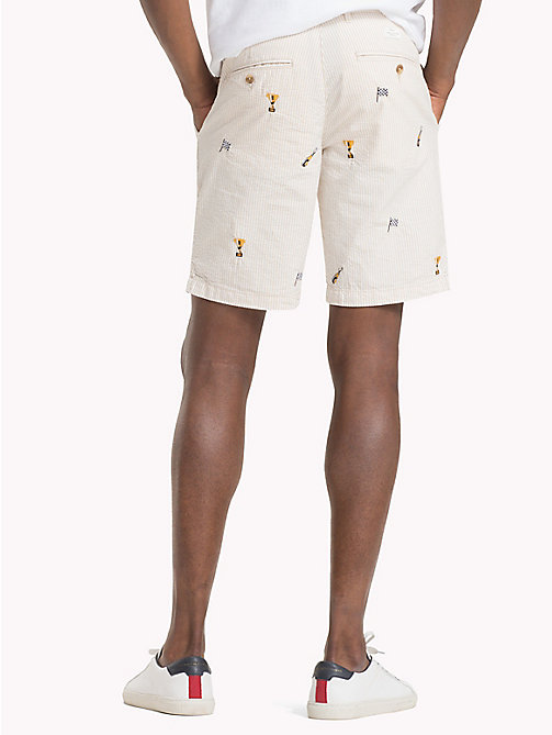 TOMMY HILFIGER Straight Fit Shorts aus Seersucker - OYSTER GRAY - TOMMY HILFIGER Shorts - main image 1