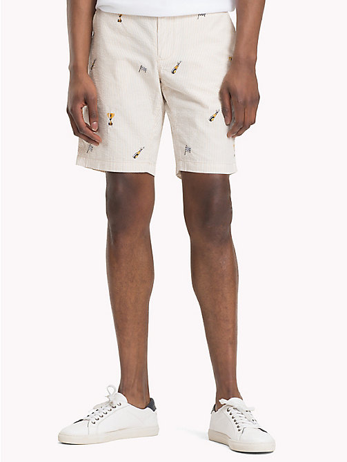 TOMMY HILFIGER Straight Fit Shorts aus Seersucker - OYSTER GRAY - TOMMY HILFIGER Shorts - main image