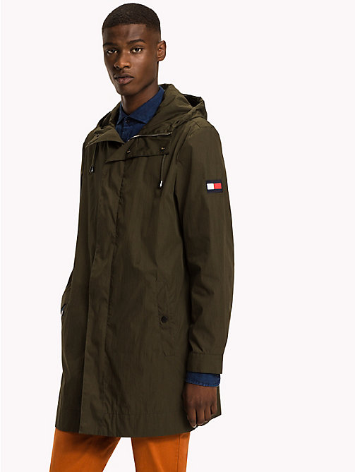 TOMMY HILFIGER Longline Hooded Cotton Parka - FOUR LEAF CLOVER - TOMMY HILFIGER Clothing - main image
