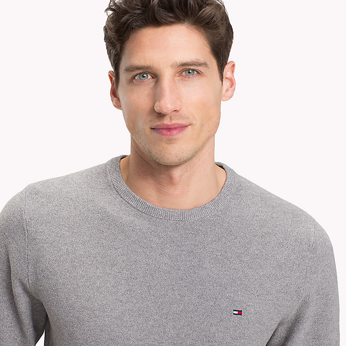 TOMMY HILFIGER Textured Crew Neck Jumper - JOLLY GREEN HEATHER - TOMMY HILFIGER Men - detail image 2