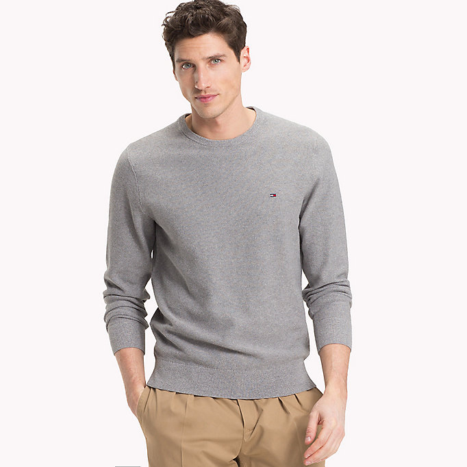 TOMMY HILFIGER Textured Crew Neck Jumper - JOLLY GREEN HEATHER - TOMMY HILFIGER Men - main image