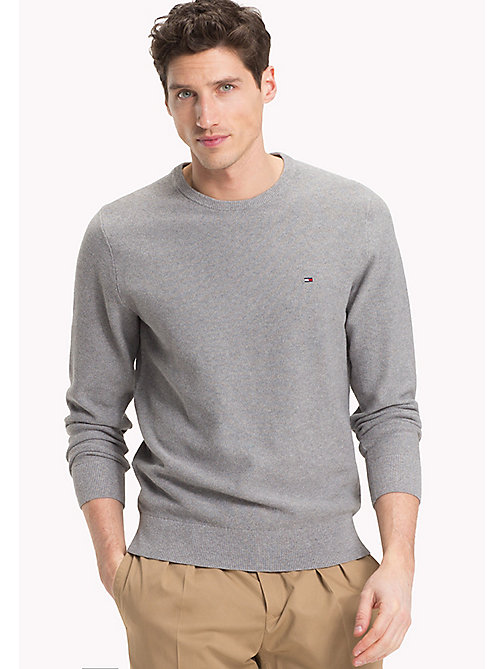 TOMMY HILFIGER Textured Crew Neck Jumper - SILVER FOG HTR - TOMMY HILFIGER Clothing - main image