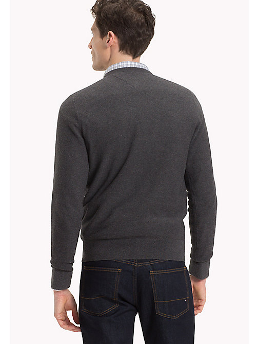 TOMMY HILFIGER Textured Crew Neck Jumper - CHARCOAL HEATHER - TOMMY HILFIGER Clothing - detail image 1