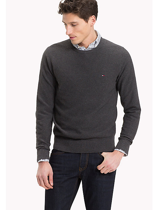 TOMMY HILFIGER Textured Crew Neck Jumper - CHARCOAL HEATHER - TOMMY HILFIGER Clothing - main image